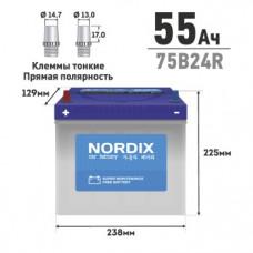 АКБ  NORDIX  55  Ah  R     ССА 520А    238*129*225