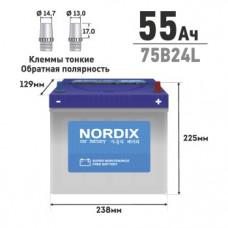 АКБ  NORDIX  55  Ah  L(обр)     ССА 520А    238*129*225