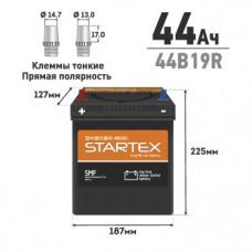 """АКБ """"STARTEX"""" 44 А/ч R ССА 350А 187*127*225, НЕобслуж., мл.клемма (1/128)"""